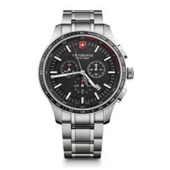 Alliance Sport Chronograph Stainless Steel Watch w/Black Dial