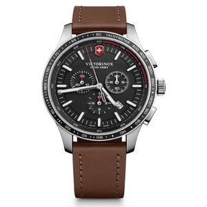 Alliance Sport Chronograph Watch w/Brown Leather Strap