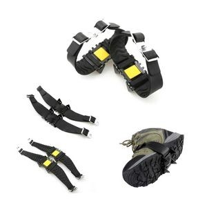 Portable Anti-Slip Shoes Ice Gripper Cleats Crampons With 4 Teeth Strap